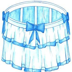 Юбка на кроватку голубого цвета - фото